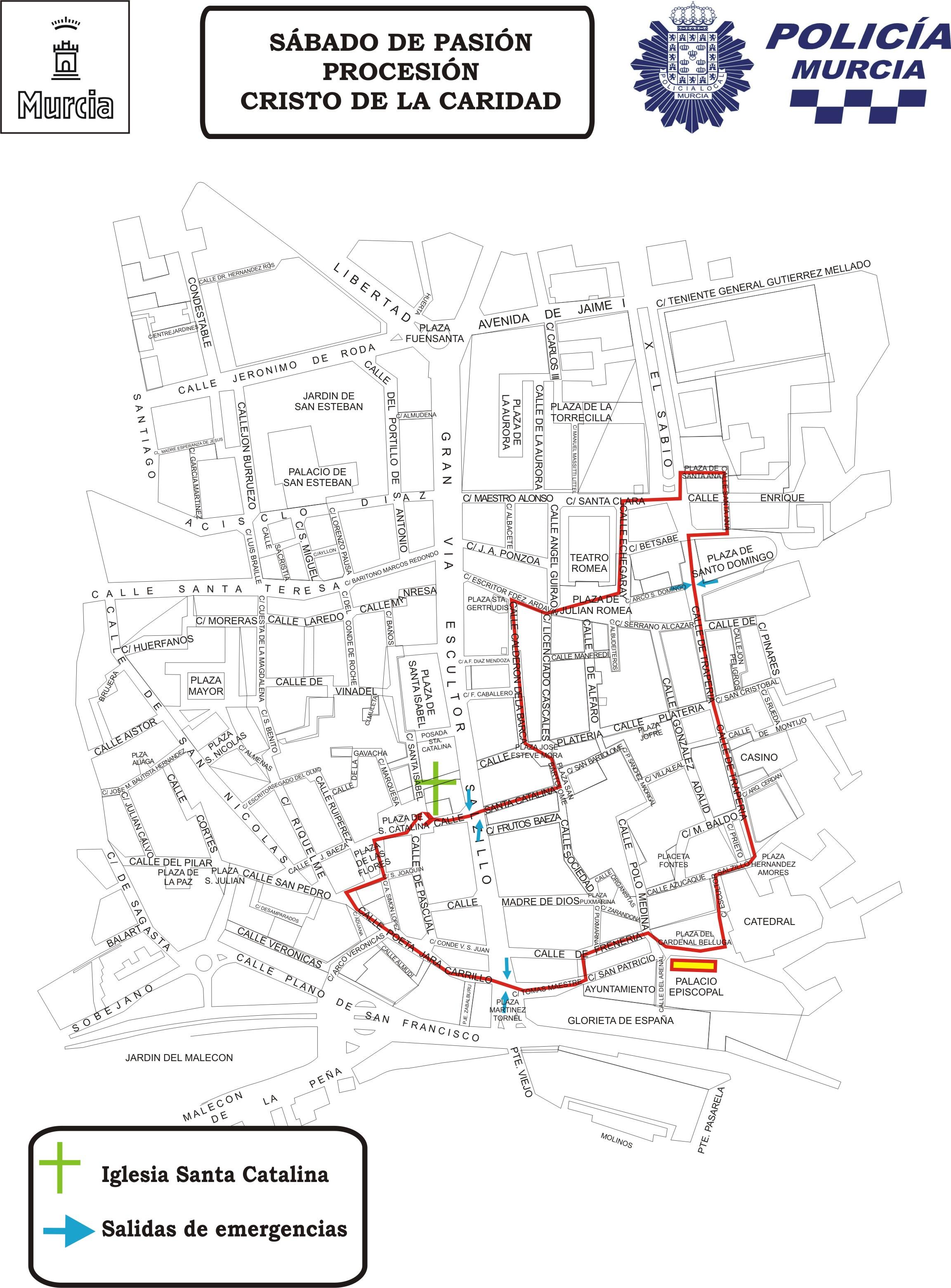 Plano con el recorrido de la procesión y salidas de emergencia