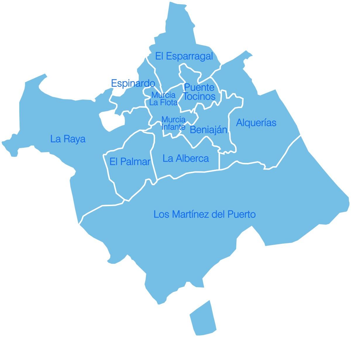 Mapa Murcia y Pedanias