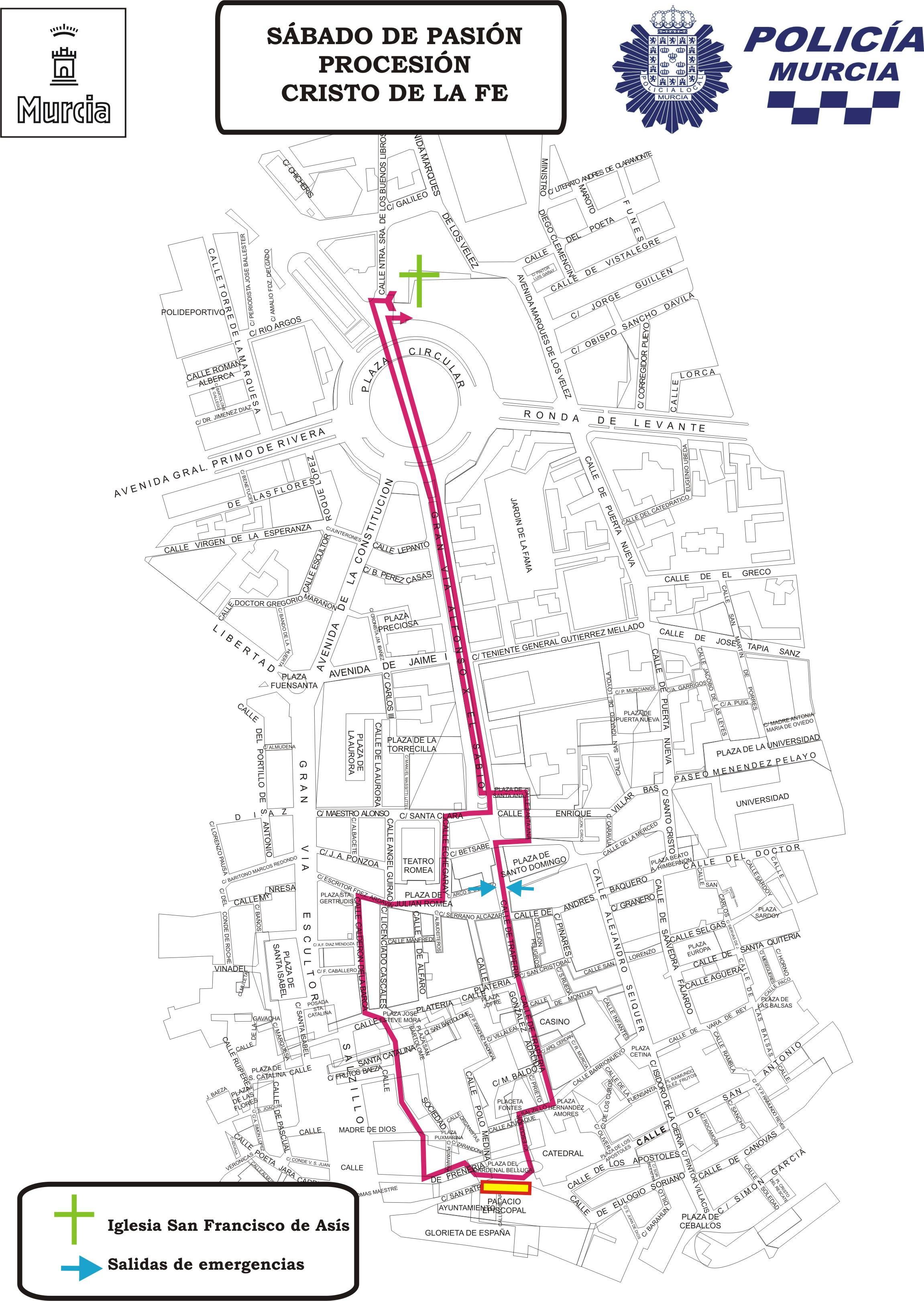Plano con el recorrido de la procesión y salida de emergencia
